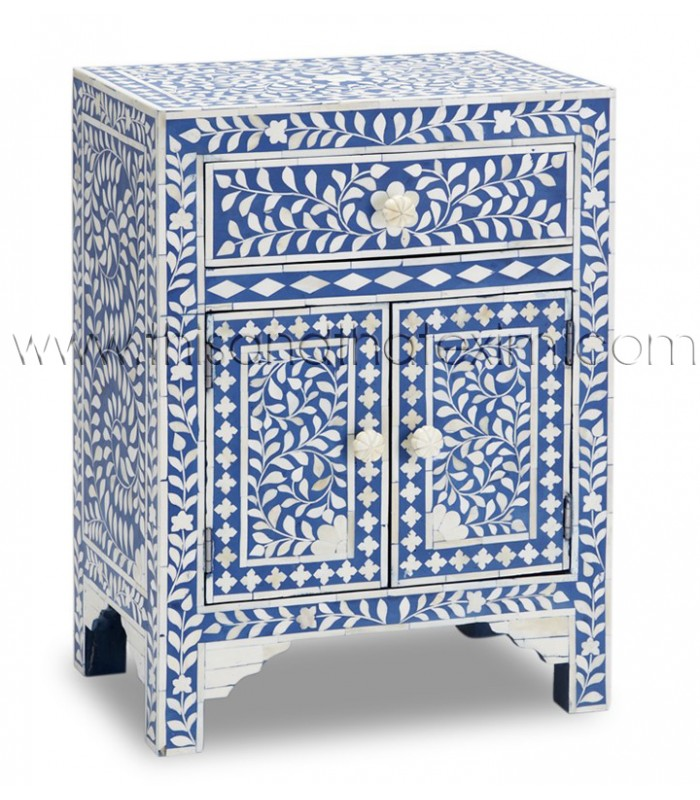 Blue Bone Inlay Floral One Drawer Two Door Bedside Table