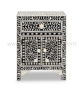 Black Bone Inlay Floral One Drawer Two Door Bedside Table