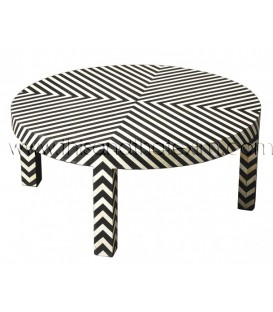 Bone Inlay Zebra Line Pattern Round Coffee Table