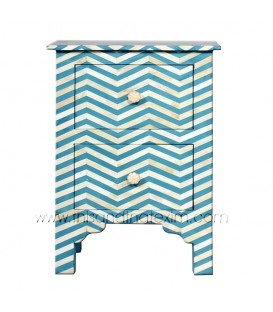 Aqua Bone Inlay Chevron Bedside 2 Drawer