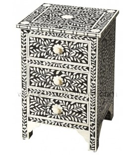 Bone Inlay Floral 3 Drawer Accent Chest Bedside Black