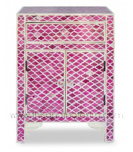 Bone Inlay Geometric Bedside 1 Drawer Pink