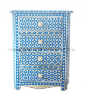Bone Inlay 4 Drawer Geometric Bedside Blue