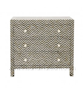 Bone Inlaid 3 Drawer Dresser Chevron Black