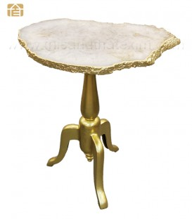 White Agate Table with Gilded