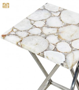 White Agate Organic Edge Side Table
