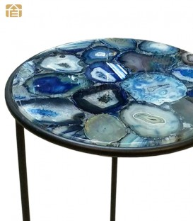 Blue Agate Nero Round Edge Side Table