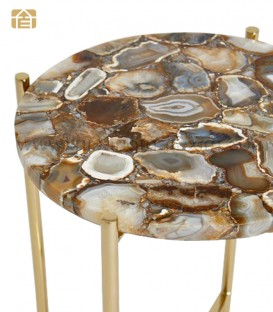 Brown Agate Organic Edge Side / Coffee Table